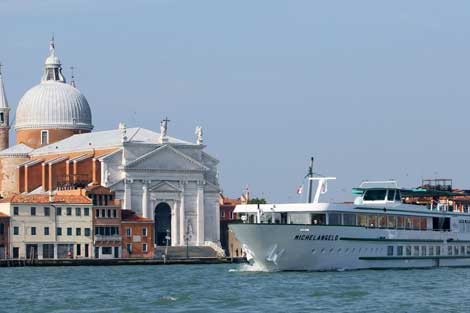 River cruise ship near Venice